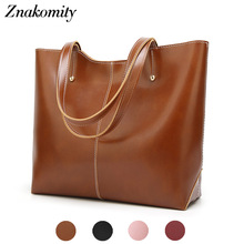Znakomity Vintage Women Black Large Shoulder Big Leather Handbags Womens Brown Solid Retro Casual Hand Bags Tote for Woman