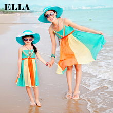Mother daughter dresses family look mother and daughter clothes family look women beach dress Vestido tropical roupas meninas