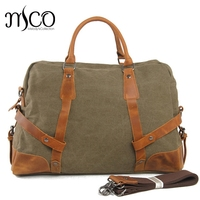 Vintage High Quality Waterproof Canvas Travel Tote Cowhide Patchwork Business Luggage Bag Big Capacity Crossbody Travel Duffle