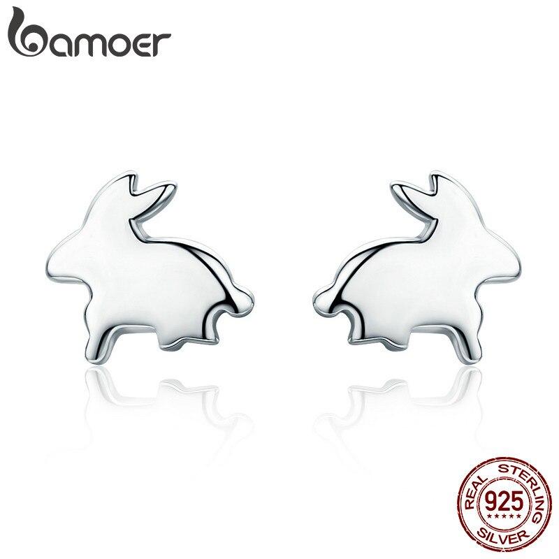 BAMOER 100% 925 Sterling Silver Easter Day Gift Cute Rabbit Small Stud Earrings for Women Sterling Silver Jewelry Bijoux SCE294