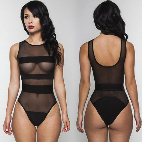 78b34ce023 Black mesh monokinis bathing suits Striped see through bodysuit Simi- Sheer  sexy one piece swim suits Sexy Lingerie Women