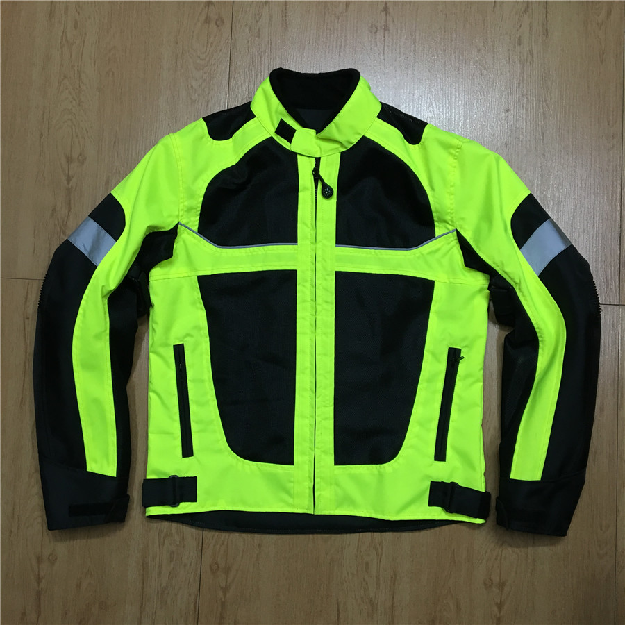 LYSCHY Green Motorcycle Jacket men Summer Breathable Mens Motocross Off-Road Jacket Mesh Moto Reflect Racing Jacket Motorbike