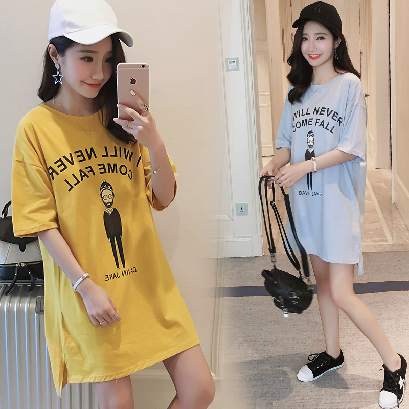 318 New Funny Casual Summer Maternity Clothes Lovely O-neck Maternity Shirt Pregnancy Tops Plus Size Clothes For Pregnant Women