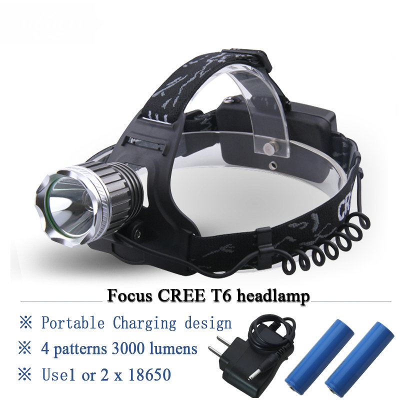cree xml t6 lanterna head lamp led headlamp 18650 Rechargeable camping headlight Cycling mining Head Torch 4 Modes hoofdlamp