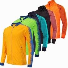 Куртка для бега Мужская дышащая куртка для спорта на открытом воздухе  походная футбольтрикотаж тренировкуртка для тренировок 46d15f83ca3