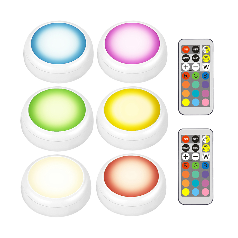 Super Bright RGBW 13 Colors Timing LED Puck Lights Dimmable Under Cabinet Closet Light Multicolor Counter Kitchen Bedroom Lights