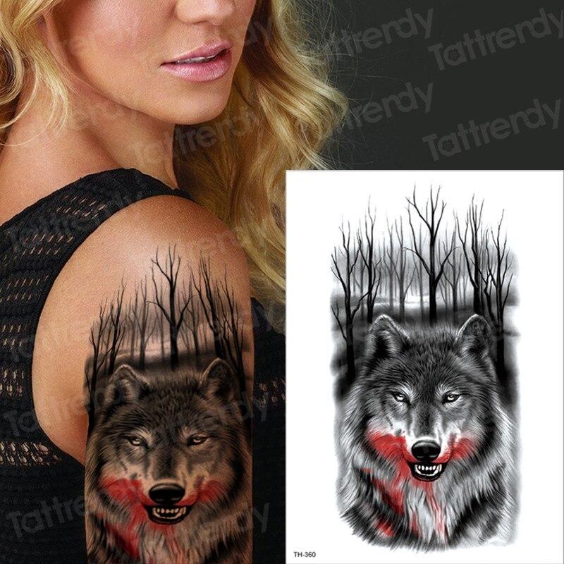 Wolf Temporary Tattoos For Men Women Transfer Tattoo Black Fake Tattoo Sleeve Arm Tatoo Big On Body Art Chest Tatto Boys Male