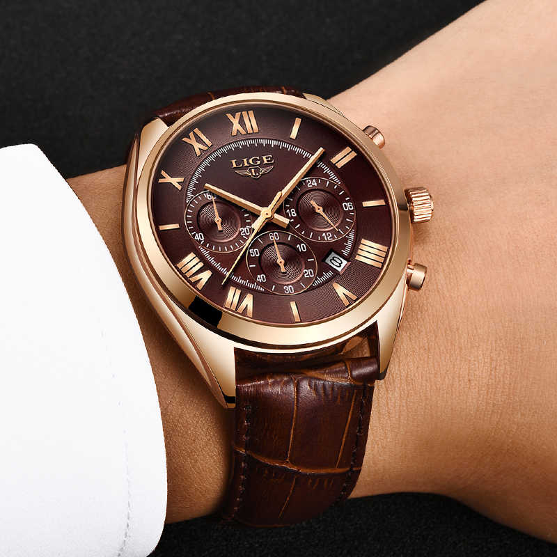 2019 LIGE hommes montres haut de gamme marque de luxe étanche 24 heures Date Quartz horloge mâle en cuir Sport montre-bracelet Relogio Masculino