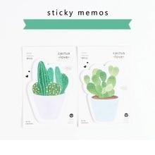 4 db / Lot Zöld Cactus ragadós jegyzetek Zöld növények jegyzettömbjei Post-it címke Irodaszer Office Irodai kellékek escolar F181