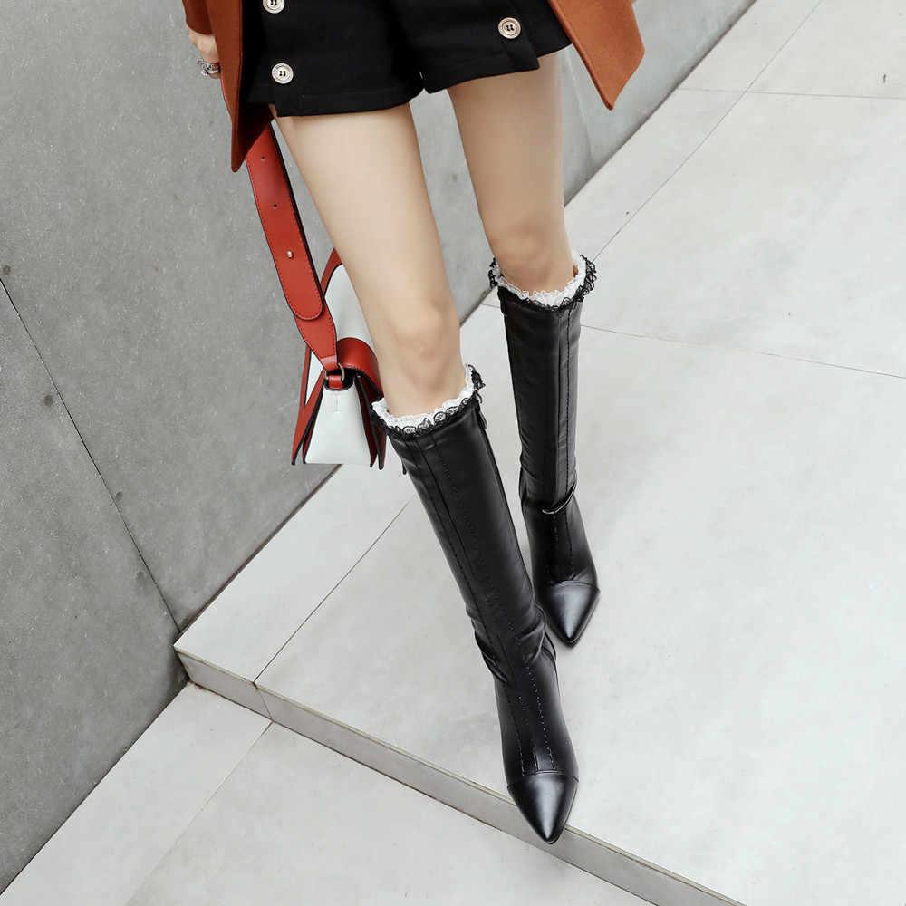 YOUYEDIAN Sexy koronki damskie buty zima wysokiej heelShoes wskazał szpilki botki dzikie z boku na zamek błyskawiczny wysokiej rury dolgu topuklu bot # G30