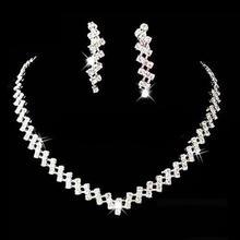 Женское Ожерелье, Серьги, набор, для невесты, свадьба, выпускной, ювелирные изделия, блестящие стразы, элегантные, нержавеющая сталь, Дубай, ювелирные наборы для женщин
