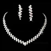 Women Necklace Earring Set Bridal Wedding Prom Jewelry Shiny Rhinestone Elegant stainless