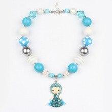 Fashion Classic Dis.ney Elsa Princess Alloy Pendant Kids Girls Fancy Dress March Jewelry Accessories Favorite Gift Chunky WX1753