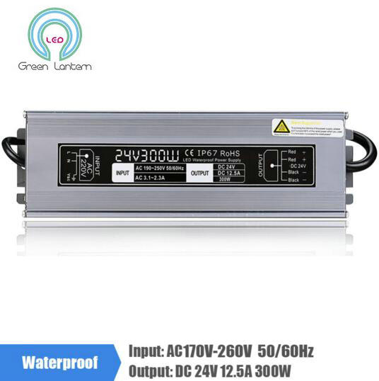 ФОТО DC24V 12.5A 300W Aluminum LED Driver Lighting Transformer AC170-260V Switching Power Supply Adapter Waterproof for LED Strip