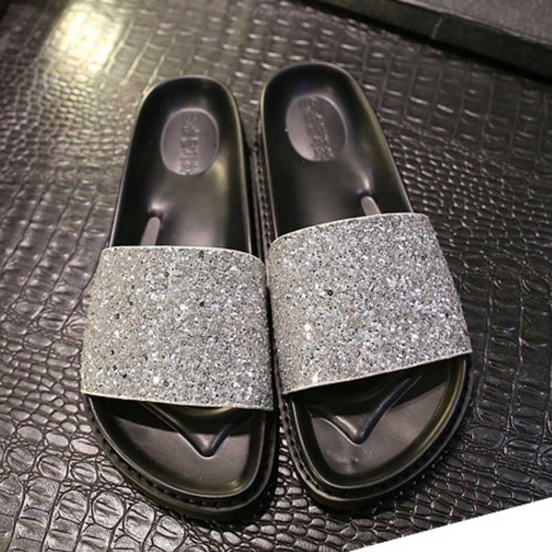 ... free shipping def1f 878ea HEE GRAND Bling Glitter Slides Refined  Crystal Round Toe Wide Band Soft ... 55ce57ac5b