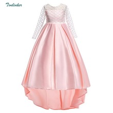Kids Party Dresses For Girl Toddler Children Trailing Dress Floral Baby clothes Princess 3-12 Year Vestido