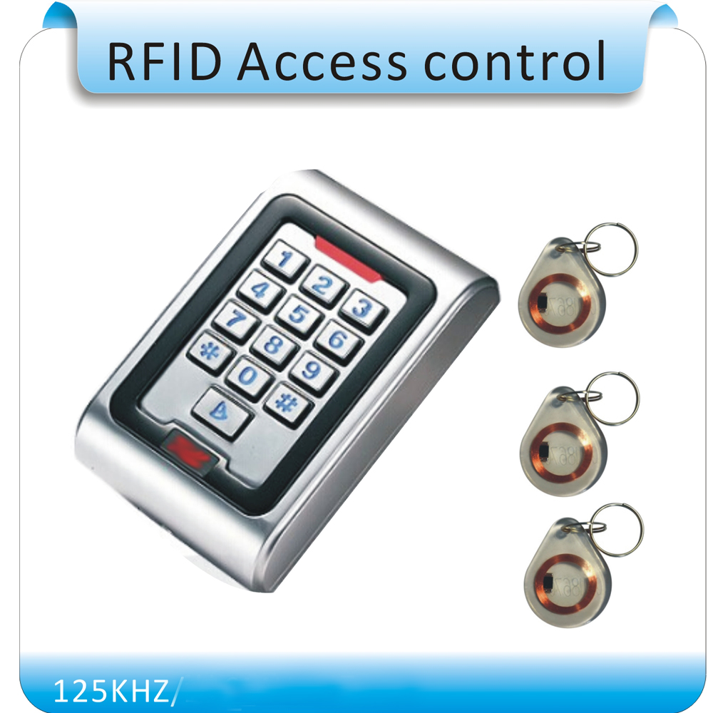 Free shipping K5 metal shell &P6 waterproof password access control Keyboard for EM125KHZ RFID DC-12V +10 pcs crystal keytags free shipping k5 metal shell