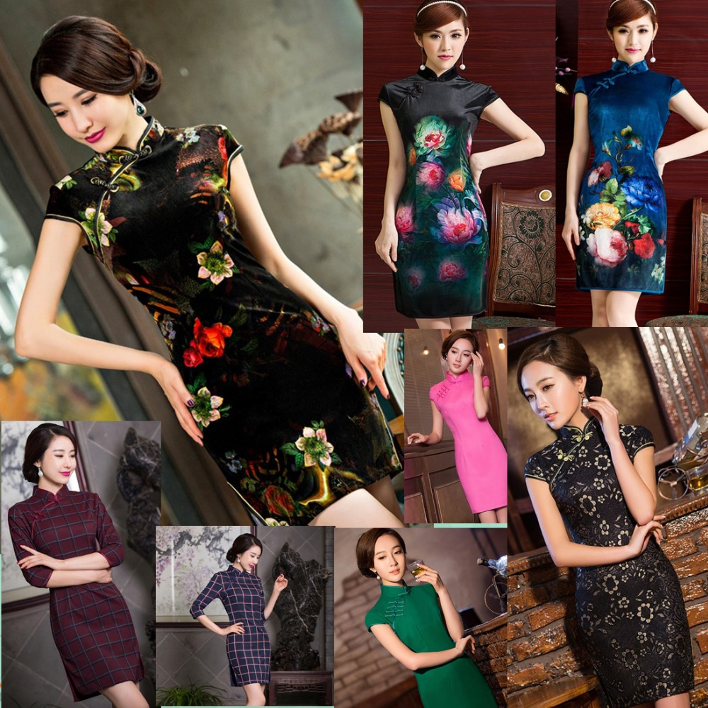 a7d2c298db1ee New Charming Retro Chinese Women Autumn Winter Velour Cheongsam ...
