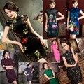 New Charming Retro Chinese Women Autumn Winter Velour Cheongsam Dress QiPao Short Party Wear Cheongsams Dresses for Women Lady
