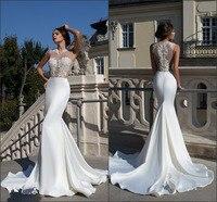 Vestido De Noiva Sexy 2019 White Lace Appliques Satin Women Mermaid Wedding Dresses Lace Bra Bride Dress Custom Made ZY3001