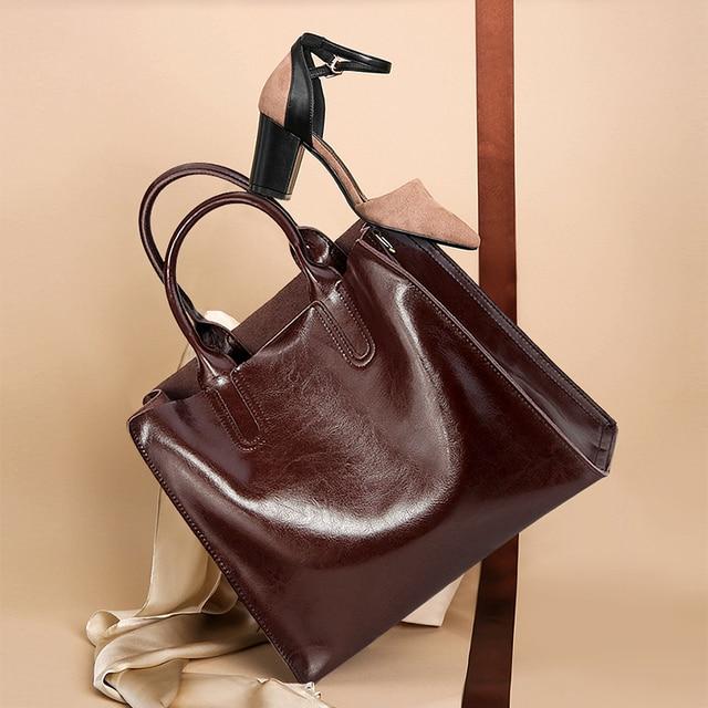 Burminsa Brand Real Leather Handbags Ladies Genuine Leather Tote Hand Bags Female Designer Shopper Shoulder Bags For Women 2019 5