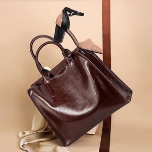 Image 4 - Burminsa Soft Real Genuine Leather Handbags Ladies Large Capacity A4 Work Tote Bags Women Vintage Shoulder Crossbody Bags 2020