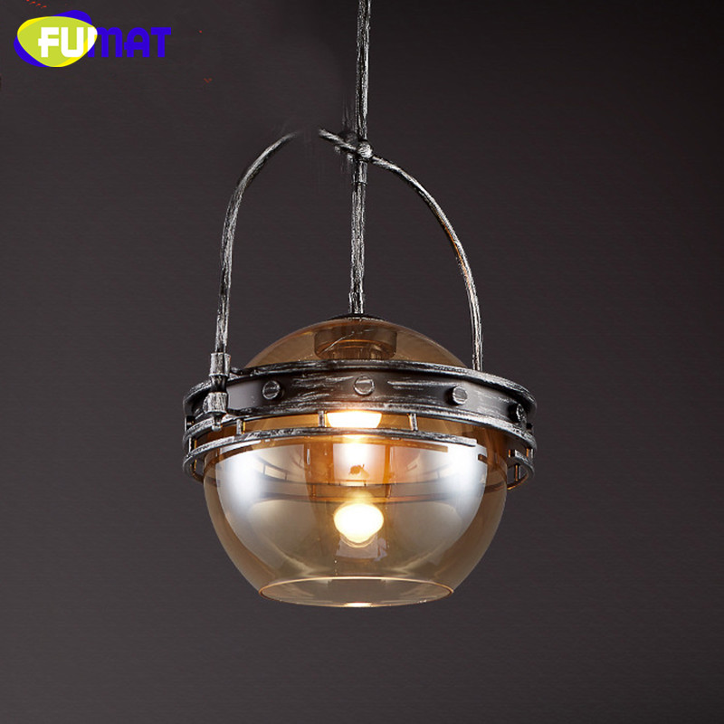 Loft Style Amber Glass Pendant Lamp Vintage Edison Light Retro Iron Art Industrial Pendant Light For Cafe Bar Hanging Lamps 2 pcs loft retro light rusty color hanging lamp cafe bar pendant lights creative edison lamps industrial style pendant lighting