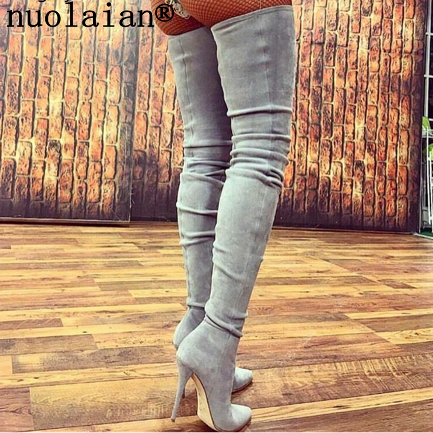 New Thigh High Women Boots 10.5CM High Heel Winter Shoes Woman Leather Over The Knee Boots Lady Punk Boot Black Dress Shoe Подушка