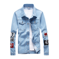 2018 casual summer New Male Cowboy bomber Long Sleeve mens coats man jean jackets Plus free shipping