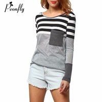 PEONFLY Long Sleeve T Shirt Women Striped Hooded T Shirt Women Tshirt Female Tops Tee Shirt