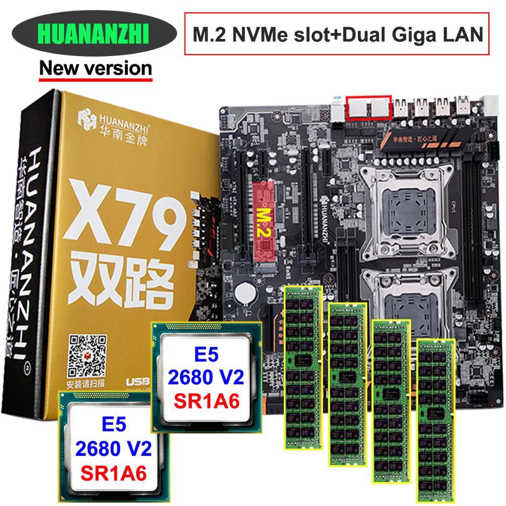 Remise carte mère ensemble HUANAN ZHI double X79 LGA2011 carte mère avec NVMe M.2 fente double CPU Intel Xeon E5 2680 V2 RAM 32G (4*8G)