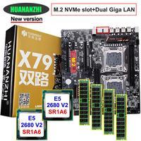 Sconto di serie della scheda madre HUANAN ZHI dual X79 LGA2011 scheda madre con NVMe M.2 slot dual CPU Intel Xeon E5 2680 V2 RAM 32G (4*8G)