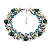 En gros Nouveau Choker 2015 Costume Principal Designer Or Couleur Exquis Brillant Cristal Femelle Vert Bleu Collier