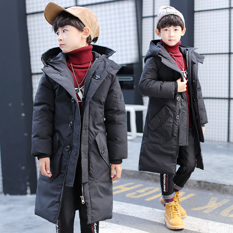 Baby Boy Clothes 2018 New Medium-sized Boys Fashion Warm Long Thick Cotton Clothing Coat 2017 new boys clothing set camouflage 3 9t boy sports suits kids clothes suit cotton boys tracksuit teenage costume long sleeve