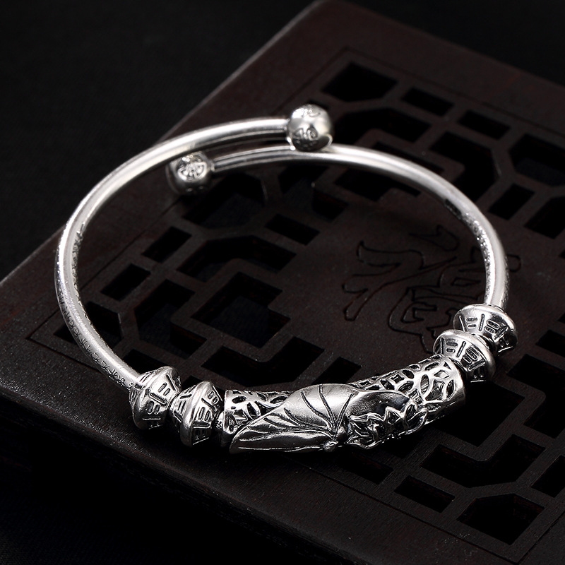 silver Thai silver restoring ancient ways of lotus heart sutra female luxury joker wholesale sterling silver bracelet nehzy lotus sutra 990 silver bracelet bracelet tibetan buddhist scriptures language female hand jewelry wholesale bracelet
