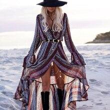 Womens Beach Dress Long Sleeve Split V-neck Elegant Beachwear Boho Vintage Ethnic Robe Maxi Dresses Seaside Bohemian