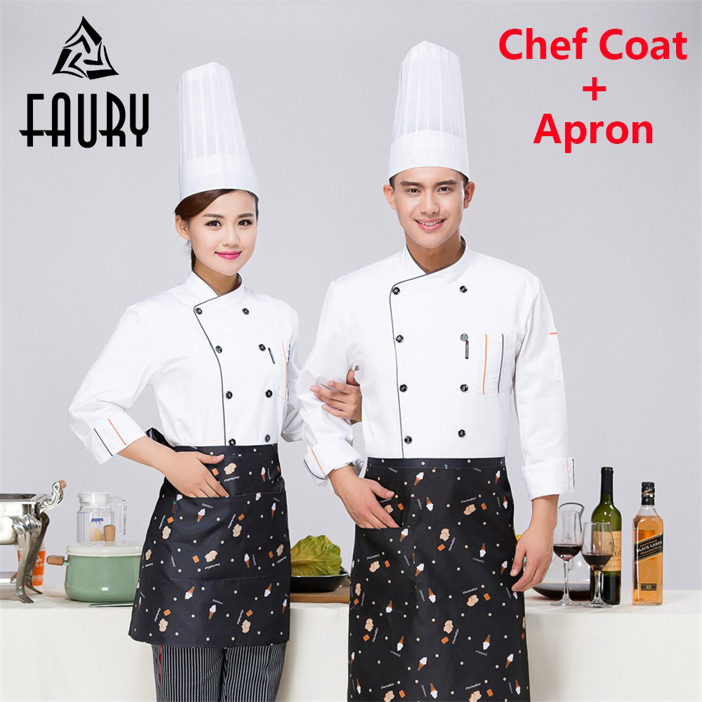Unisex Long Sleeve Chef Sushi Restaurant Food Service Bakery Waiter Work Uniforms Cooking Wear Coat Kitchen Jacket Tops M-3XL