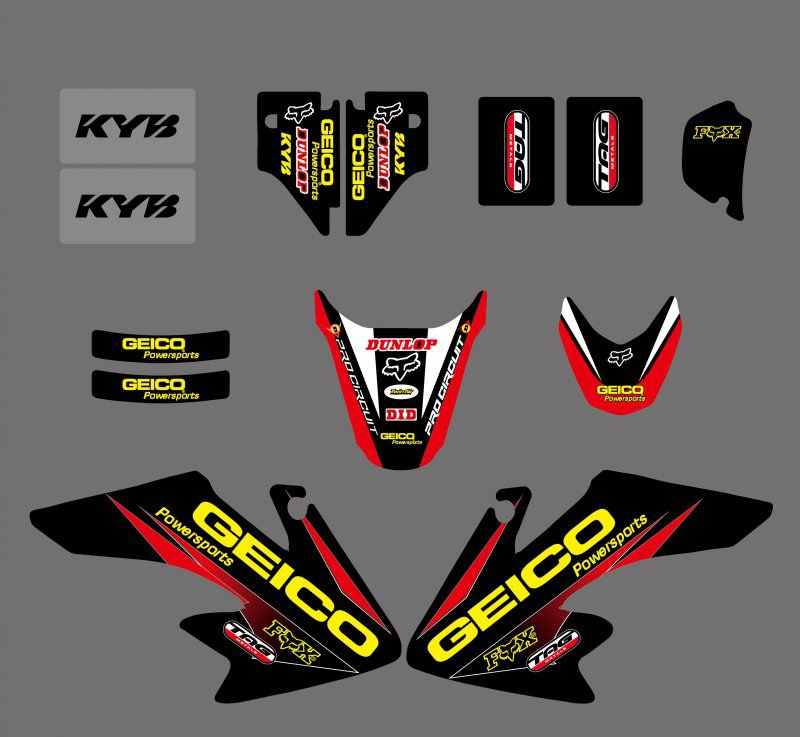 GRAPHICS & BACKGROUNDS DECALS STICKERS Kits for Honda CRF50 CRF50F 2004  2005 2006 2007 2008 2009 2010 2011 2012 CRF 50 50F
