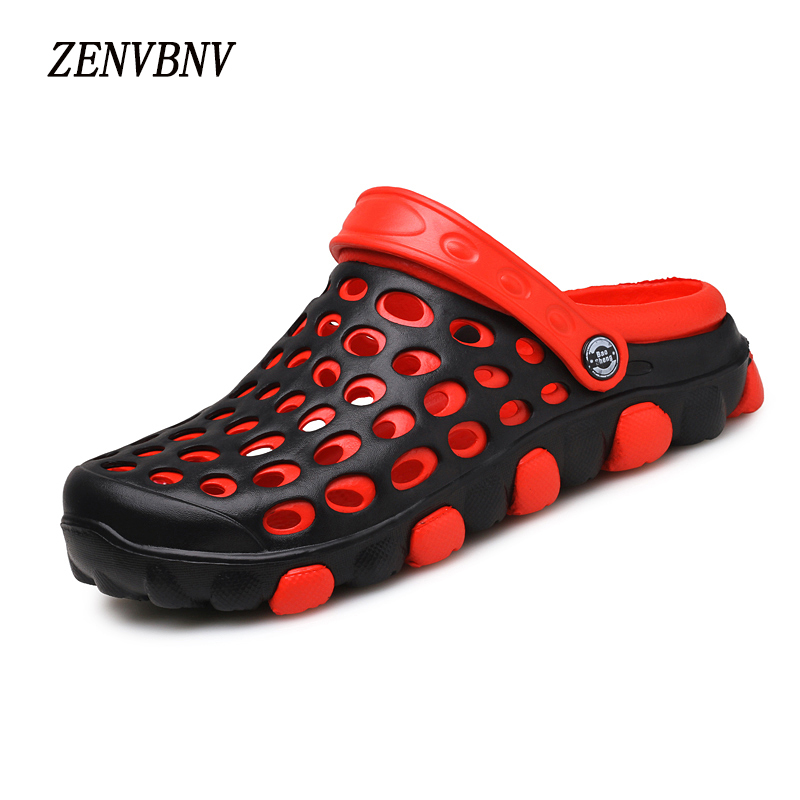ZENVBNV 2017 Summer Comfortable Men Slip On Garden Hollow Men Outdoor Beach Sandals Casual Water Shoes Slippers Soft Men Shoes toursh men summer shoes sandals new breathable beach slip on mens slippers walking cool outdoor for casual summer slippers blue