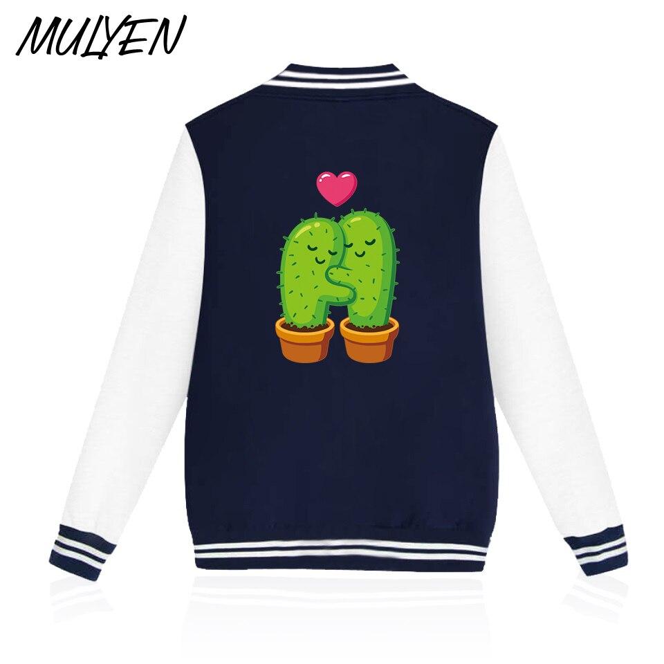 Kaktus Mulyen Lucu Jatuh Cinta Novelty Baseball Pakaian Untuk Pria Sweater Wanita Unisex Hitam Pink Bulu Hoodies Hip Hop 4xl Kaus Di Dari