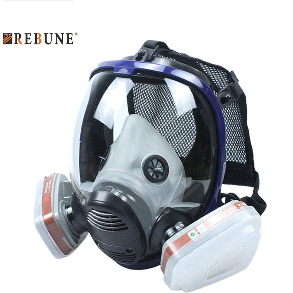 REBUNE 7 In 1 Set Full Face Mask For 6800 Gas Mask Full Face Facepiece Respirator For Painting Spraying Protection Tool 7 in 1 suit industry painting spraying respirator same for 6800 gas mask full face facepiece respirator