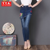 Plus Size 4XL 3XL Ethnic Style Fashion Embroidery Floral Butterfly Design Jeans Women Denim Pants Scratched