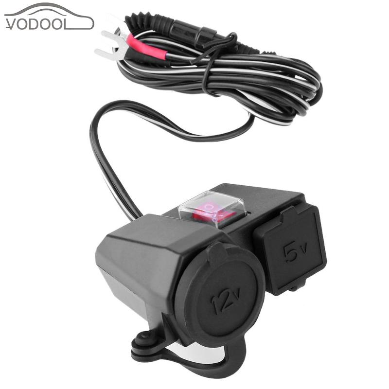 все цены на Waterproof 12V/24V Motorcycle 3.1A Dual USB Charger Cigarette Lighter Power Socket Moto Charging Adapter for Phone with Switch