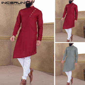 INCERUN Men Indian  Suit Shirt 2020 Vintage Button Solid Stand Collar Long Sleeve Muslim Clothes Irregular Long Shirts Men burgundy stand collar long sleeves top with button details