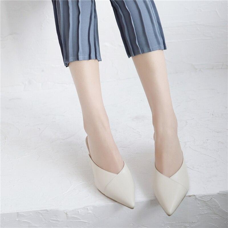 La Pu Del Beige Puntiagudo 743 Sandalias Alta Antideslizante Flop Pie Zapatillas Dedo Mujer De Voltea Calidad Zapatos green Cuero Mujeres En vPq7SF
