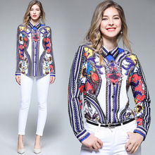 Italy style Chic print blouses tops autumn spring womens long sleeve Shirts OL Shirt D536