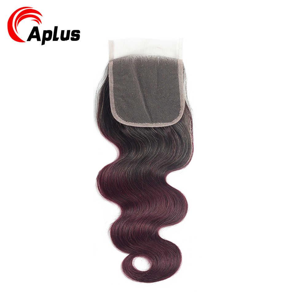 Aplus wstępnie kolorowe peruwiańskie wiązki z zamknięciem 4 szt. Ombre 1b 99j Body Wave 3 wiązki z bez zapięć/środkowe 3 części nierealne