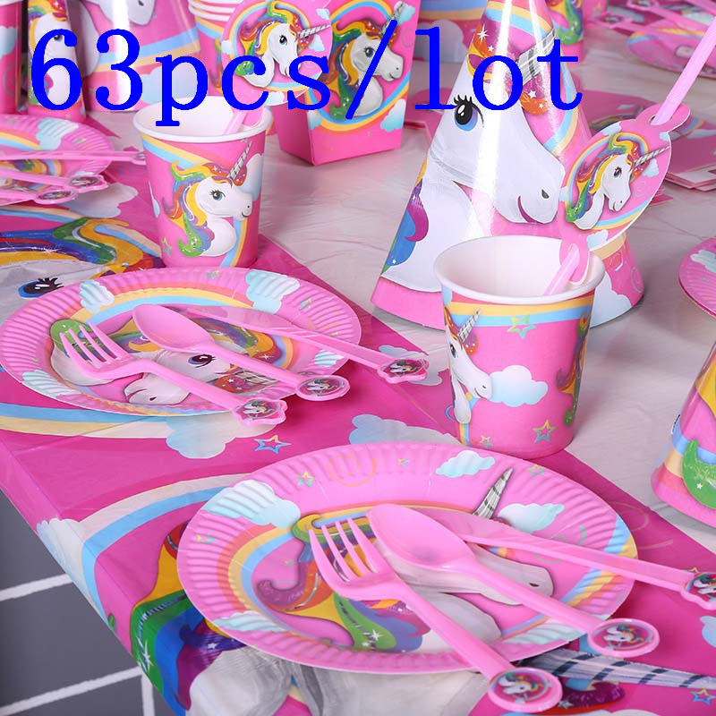 Unicorn Disposable Paper Cup Palte Tablecloth Family Party Celebration Kids Birthday Par ...