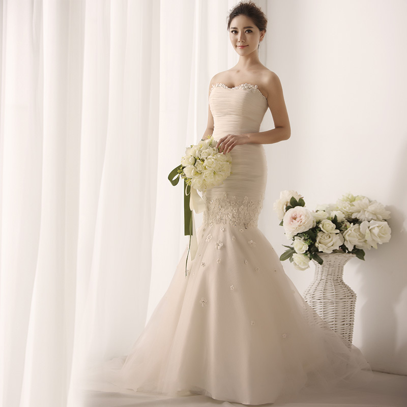 MZYW0136 strapless sweetheart neckline hand made flower ...