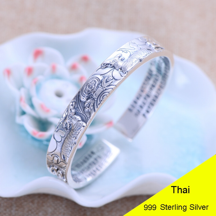 999 Sterling Silver Open Bangle Buddhist Scriptures Heart Sutra Women Thai Silver Fine Jewelry Gift CH054566 sutra